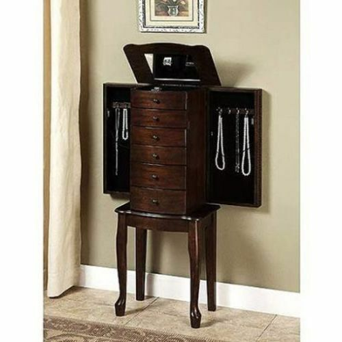 Mirrored Jewelry Armoire Box Organizer Tall Stand Up
