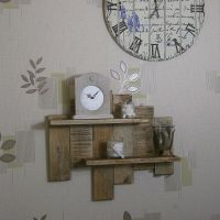 2 Shelf Solid Wood Wall Art Rustic Industrial Country ...
