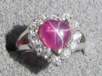 8MM HEART LINDE LINDY RED STAR RUBY CREATED SAPPHIRE 2ND ...