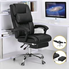 Reclining Office Chair With Footrest Uk Used Barber Executive Ergonomic High Back Leather Armchair | Ebay