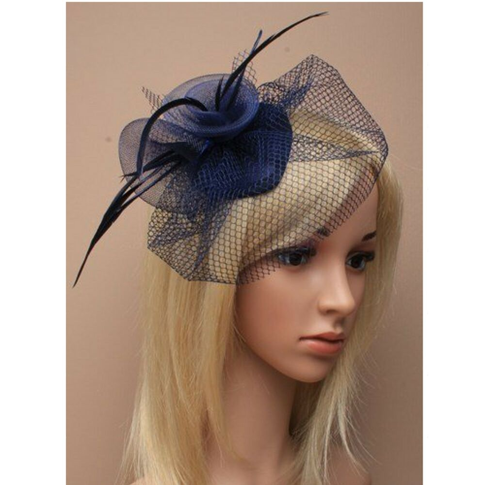 Fascinator In Navy Blue With Feather And Net Detailing