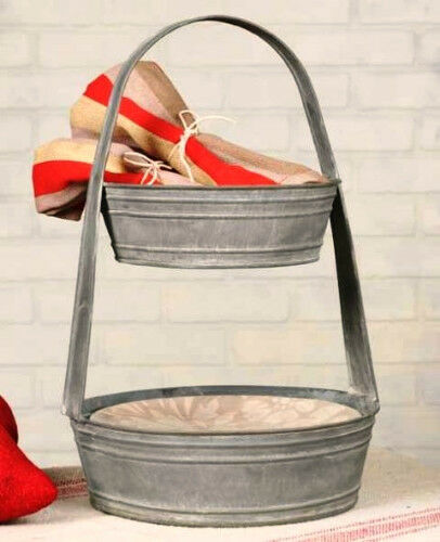 New Primitive French Country Chic Two Tiered Metal Basket