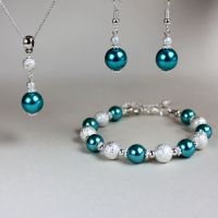 Teal blue green pearl necklace bracelet earrings silver