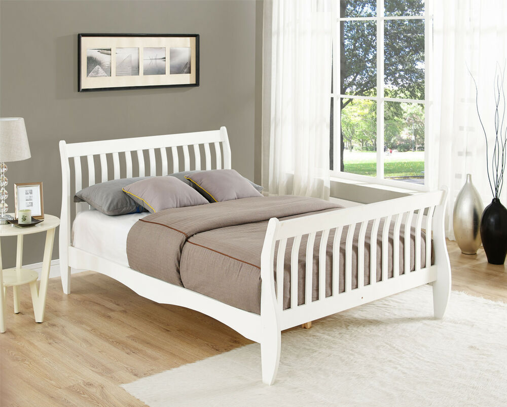 Pine Double Sleigh Bed Frame White or Natural 4FT6 Size