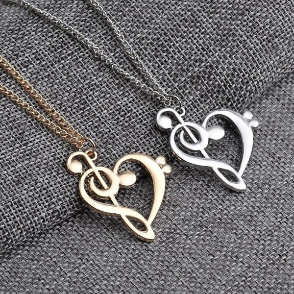 Treble Clef Music Musical Note Heart Pendant Love Necklace Silver&gold Plated