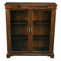 Solid Mahogany Glass Door Closed Bookcase With Adjustable ...