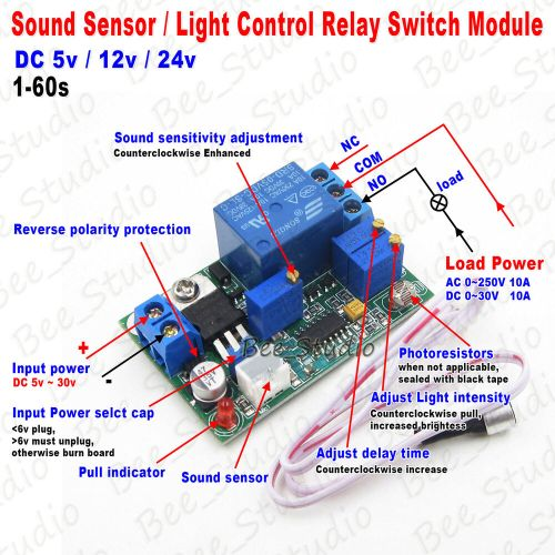 small resolution of details about dc 5v 12v 24v sound sensor light control relay switch module adjustable delay
