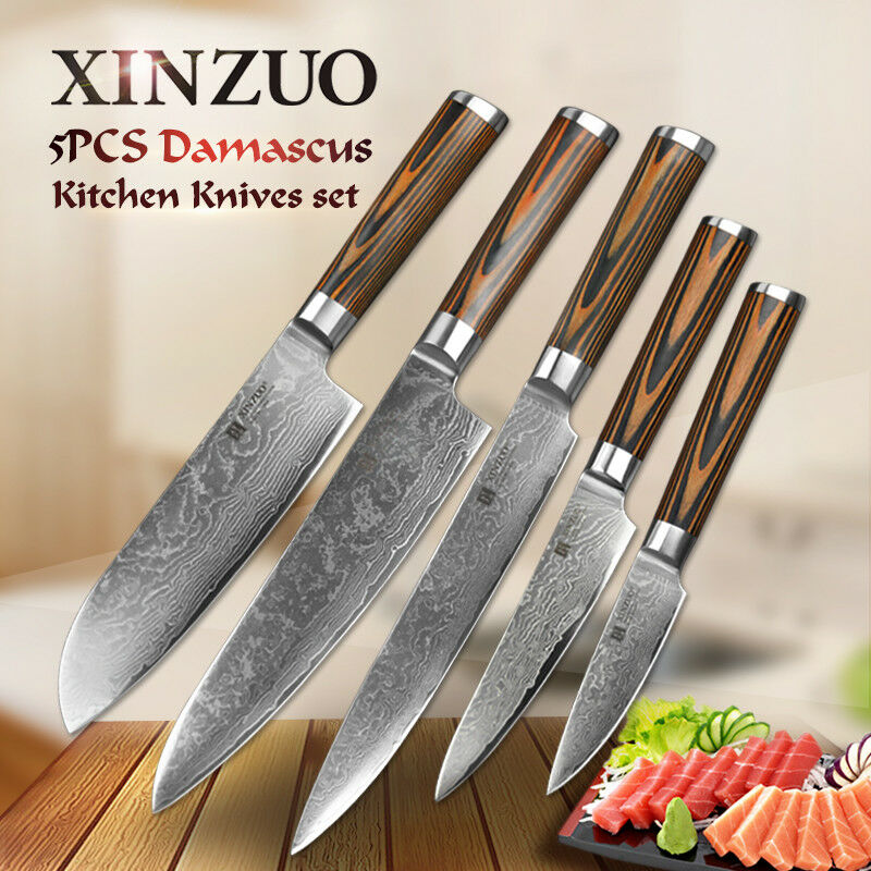 best damascus kitchen knives shop world coupon 5 pcs knife set 73 layers japanese vg10 steel chef details about wood handle