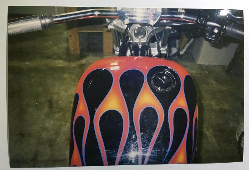 Vintage Photo Of A Custom Harley Davidson Motorcycle W