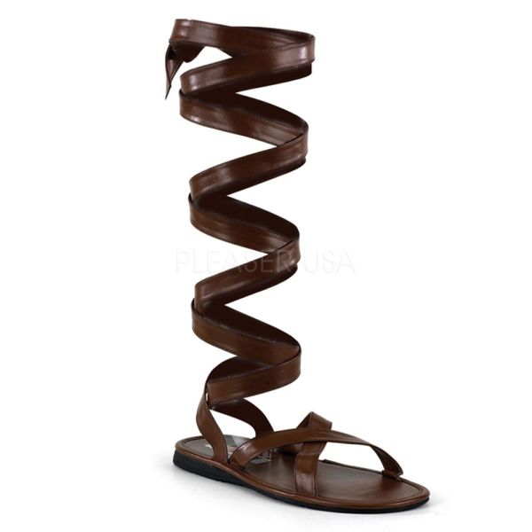 Brown Roman Soldier Gladiator Boots Sandals Costume Shoes