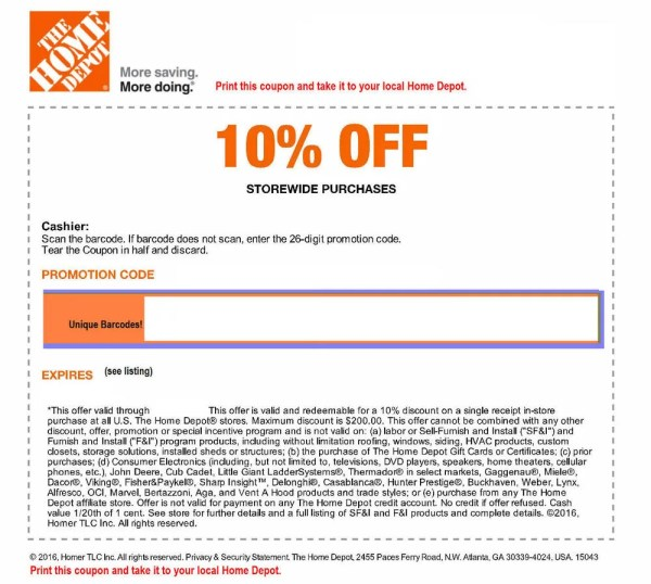 ONE (1x) Home Depot 10% Off-coupon- In Store Only -saving ...