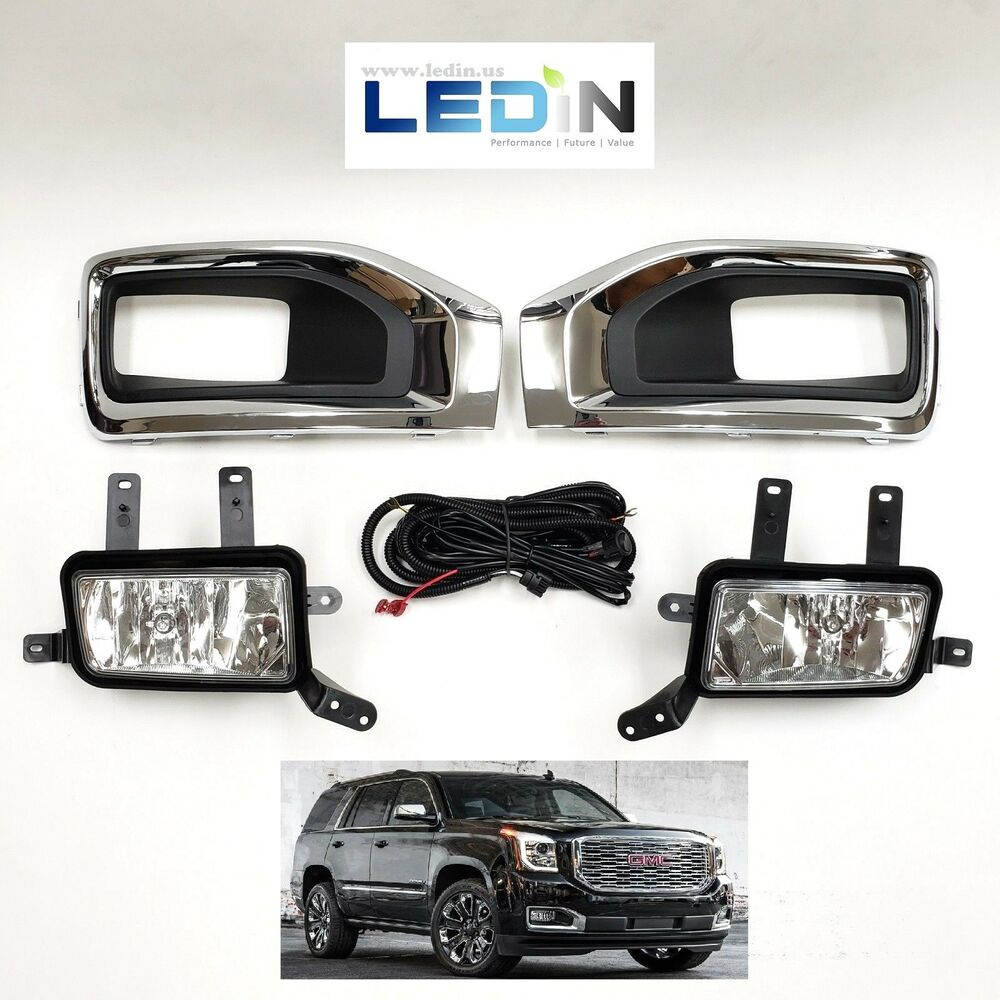 hight resolution of details about fog light kit for 15 18 gmc yukon wire harness switch chrome bezel left right xl