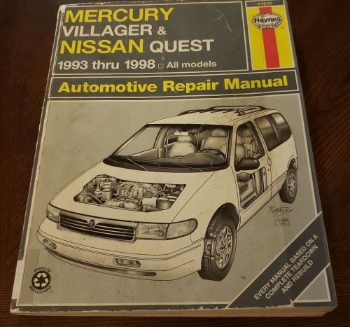 small resolution of details about haynes mercury villager nissan quest 1993 1998 repair manual bin a9