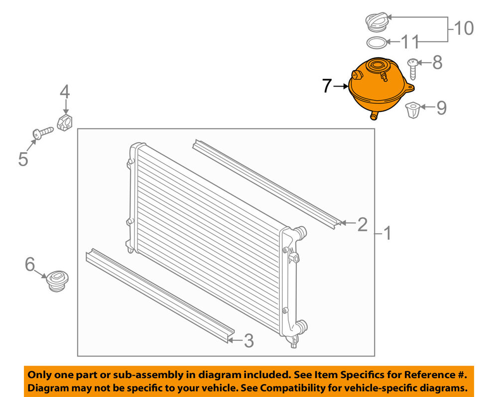 medium resolution of details about vw volkswagen oem radiator coolant overflow tank recovery bottle 1k0121407a