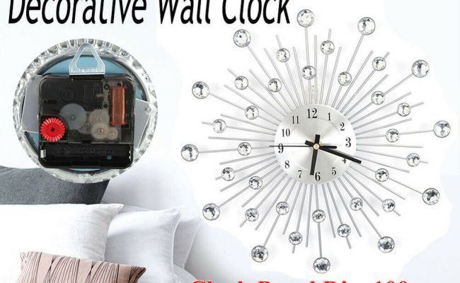 Elegant Luxury Diamond Large Wall Clocks Metal Living Room