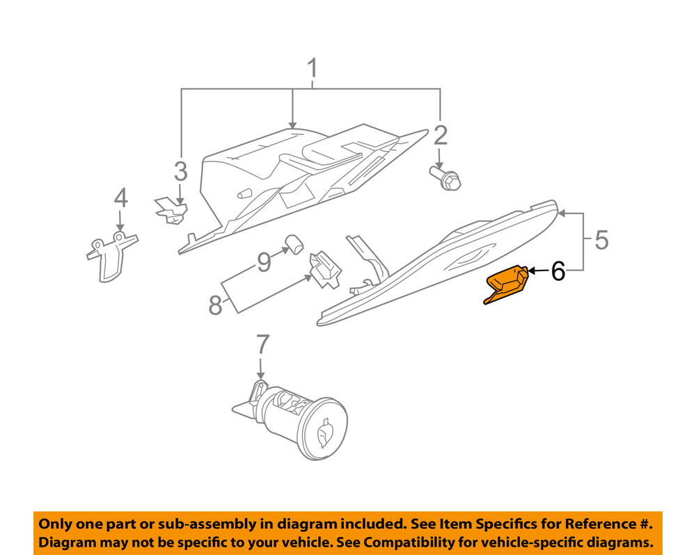 hight resolution of 2005 2007 buick lacrosse gray glove box door latch handle new oem schematic and diagram the image shows a 1988 buick front door