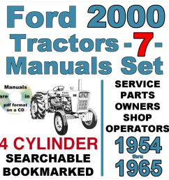 details about ford 2000 4 cylinder tractor service parts owners manual 7 manuals 1954 65 cd [ 1000 x 1000 Pixel ]