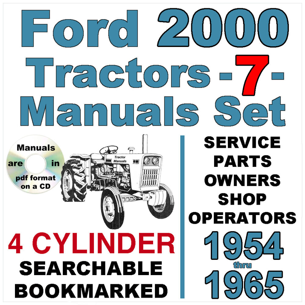 hight resolution of details about ford 2000 4 cylinder tractor service parts owners manual 7 manuals 1954 65 cd