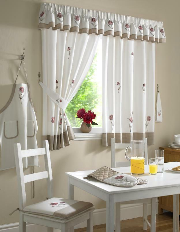 FRESH MODERN RED BEIGE IVORY EMBROIDERED FLORAL KITCHEN
