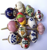 Porcelain Ceramic knobs pulls kitchen cupboard and ...