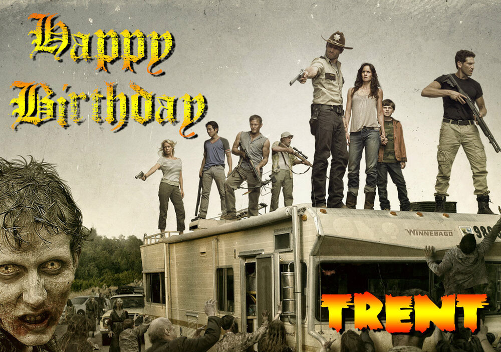 WALKING DEAD Personalised Happy Birthday Xmas Greeting