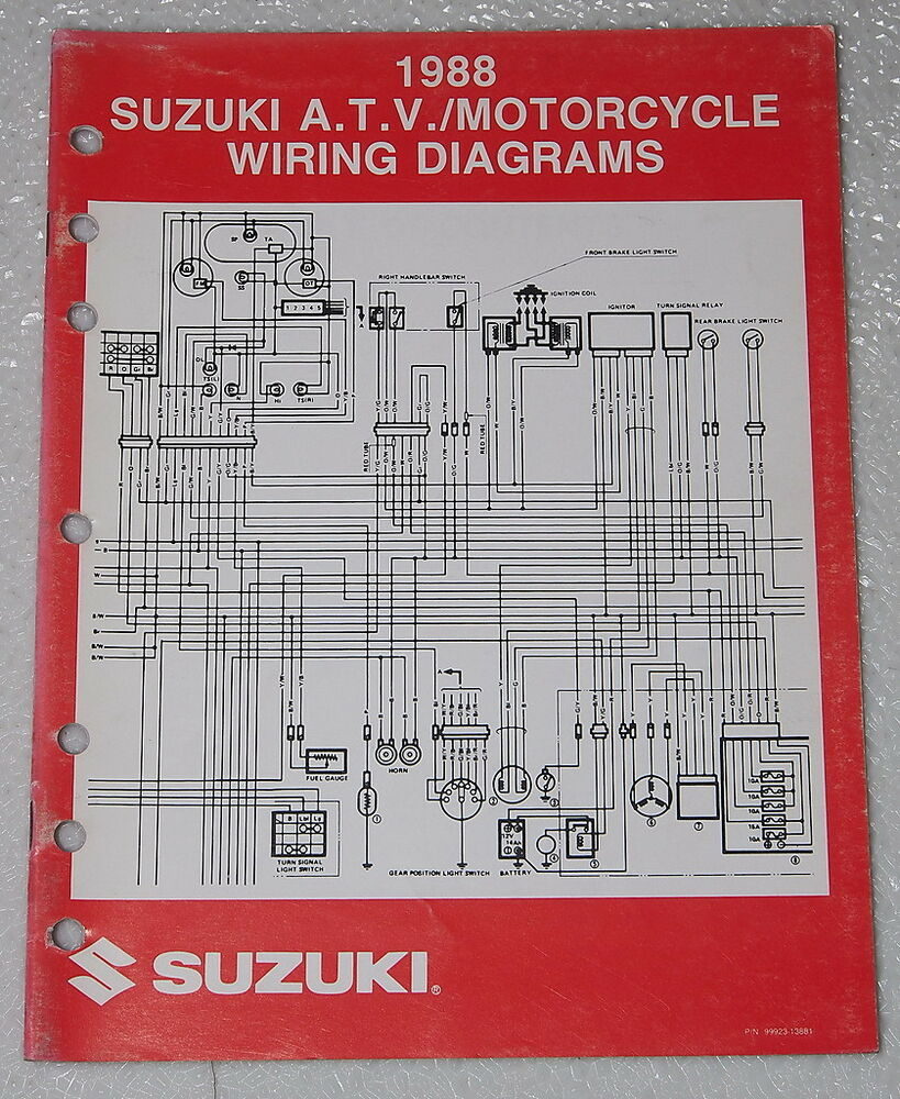 medium resolution of details about 1988 suzuki motorcycle and atv electrical wiring diagrams manual 88 j models