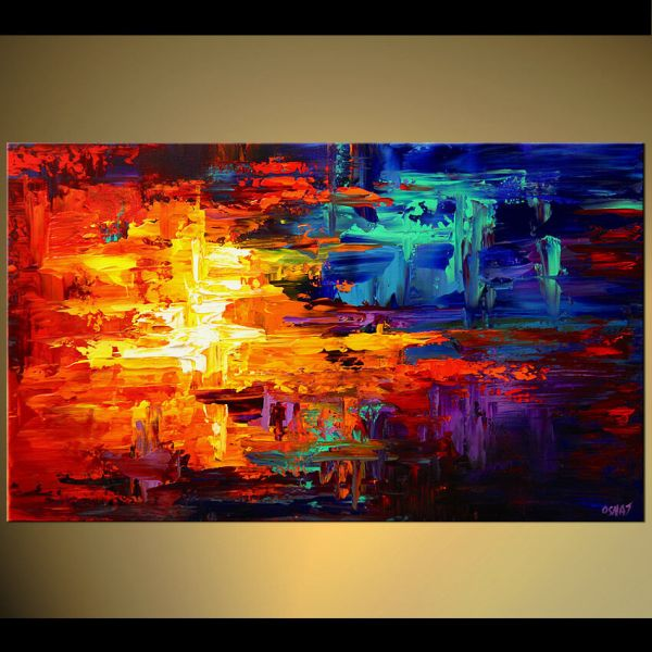 """40"""" Print Stretched & Embellished Adding Texture Palette Strokes Osnat"""