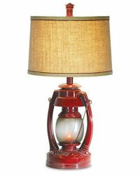 Vintage Red Lantern Table Lamp Flicker Night Light Rustic ...