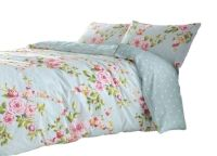 SUPERB COTTON KING SIZE PINK BLUE ROSE FLORAL REVERSIBLE