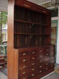 Antique 19c Hardware Store Apothecary Cabinet Display