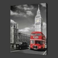 LONDON RED BUS BLACK CAB CANVAS PRINT WALL ART READY TO