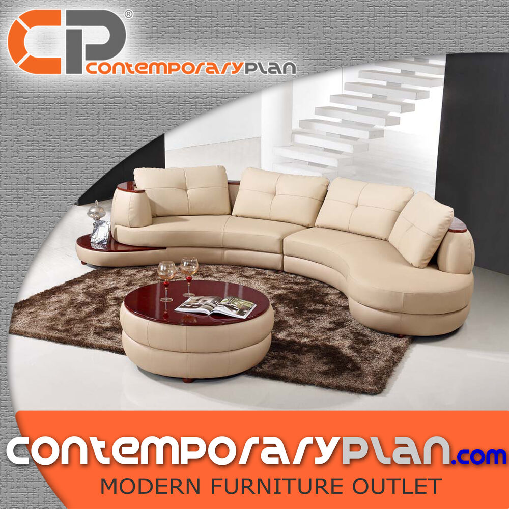 Contemporary Cream Leather Sectional Curved Sofa with Round Table Large Pillows  eBay