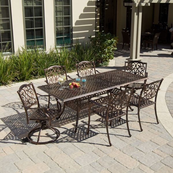 Outdoor Patio Furniture 7pcs Expandable Table 6 Chairs Cast Aluminum Dining Set
