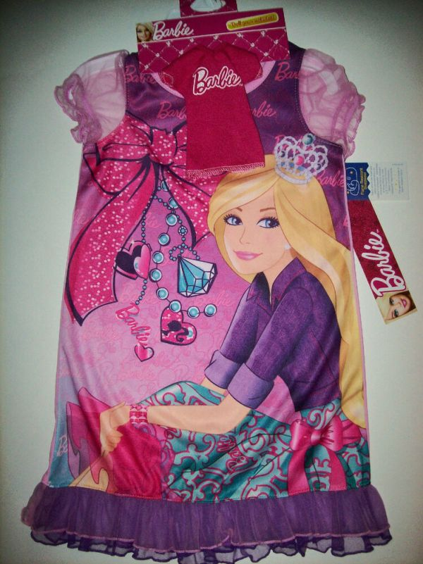 Barbie Sleepwear Nightgown Nightshirt Doll Gown Girls Sz