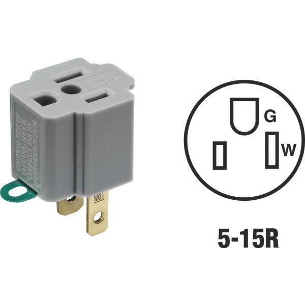 Convert 3 Prong To 2 Prong Ac Wall Outlet Cord End Adapter