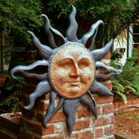 Large Rising Sun Face Celestial Garden Wall Plaque Decor