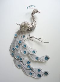 Fanciful Silver Peacock Wall Art Decor Metal Hanging Bird ...