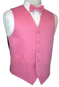 Men's Hot Pink Satin Tuxedo Vest & Bow