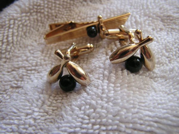 Vintage Anson Cufflinks and Tie Clip Tack Clasp Bowling
