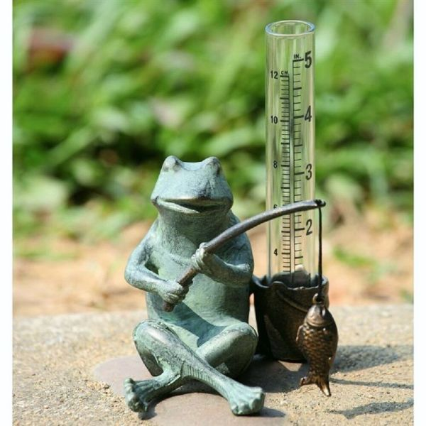 Frog Fisherman Rain Gauge Fishing Garden Plant Stake Fish