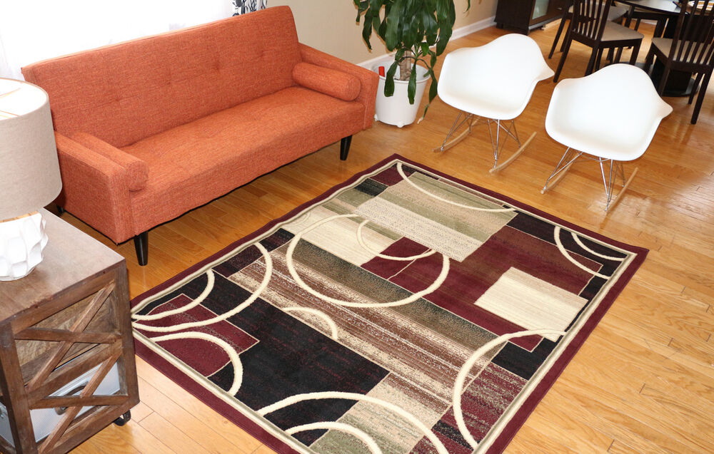 New Area Rug Burgundy Modern Squares Circles Fast Shipping