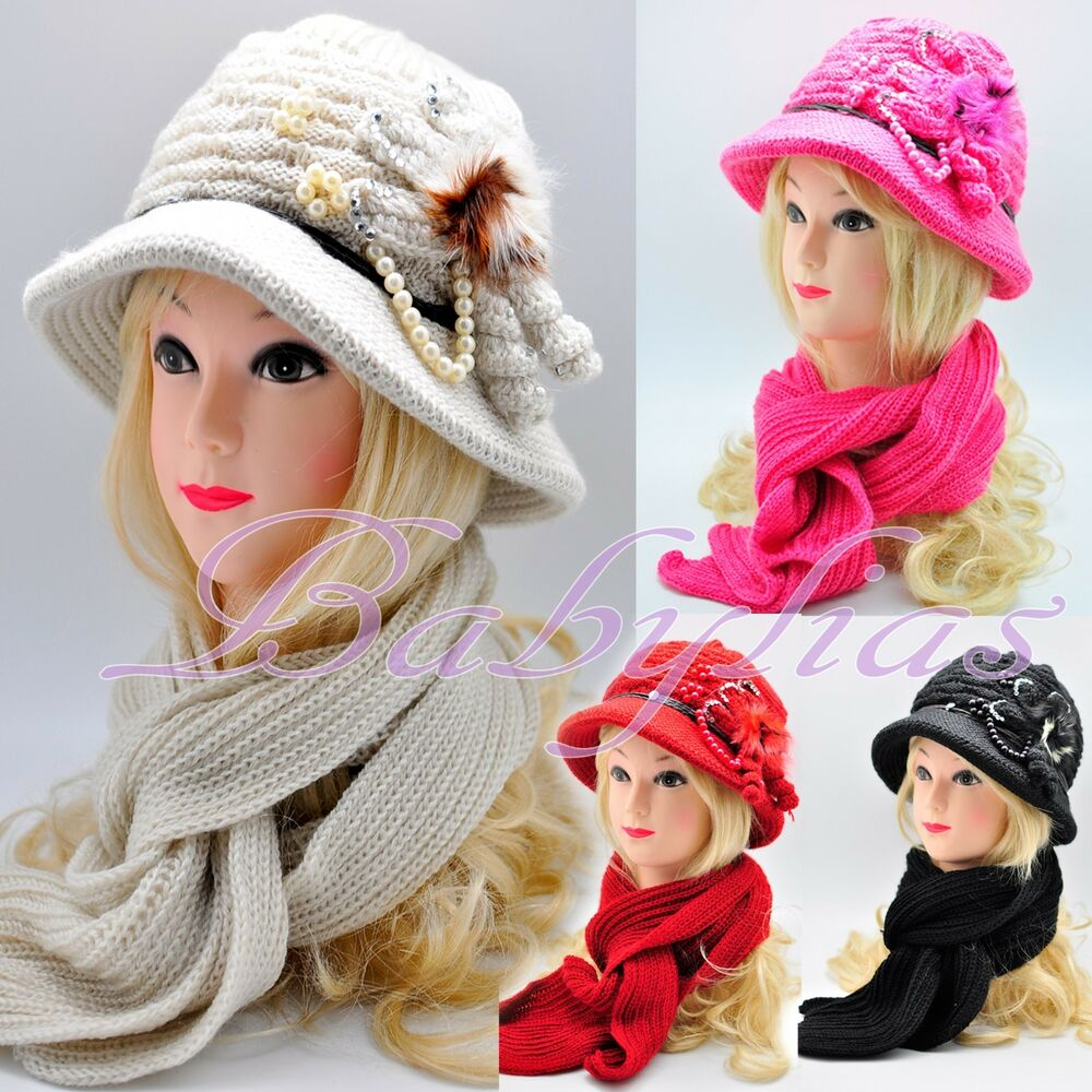 Womens Winter Knit Scarf & Hat Beanie Flower Set Lined