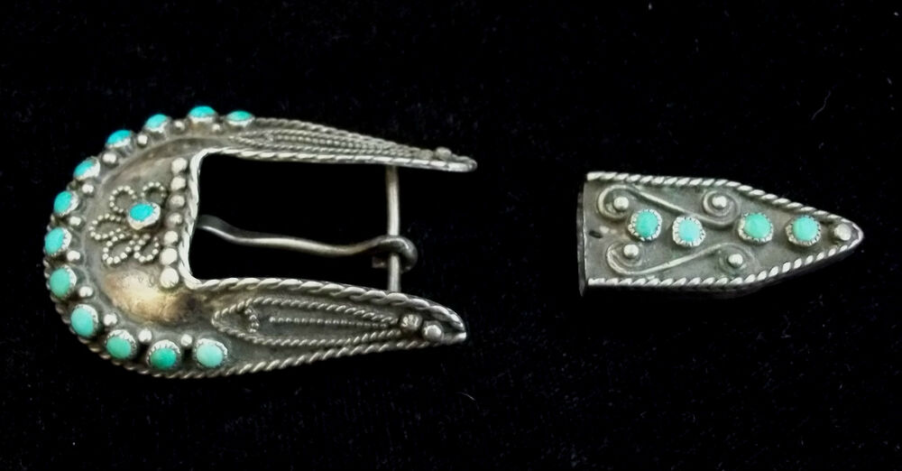 Zuni Silver and Turquoise Belt Buckle STERLING Old Pawn
