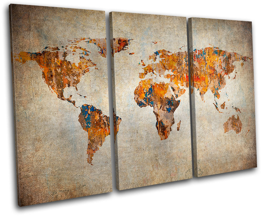 Grunge World Atlas Maps Flags TREBLE CANVAS WALL ART