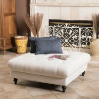 Elegant Fabric Tufted Ottoman Footstool Coffee Table