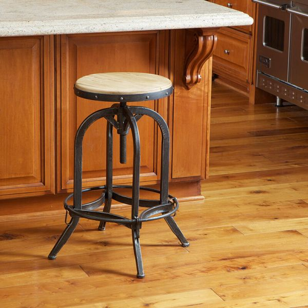 Industrial Metal Design Adjustable Height Swivel Bar Stool In Distressed Black