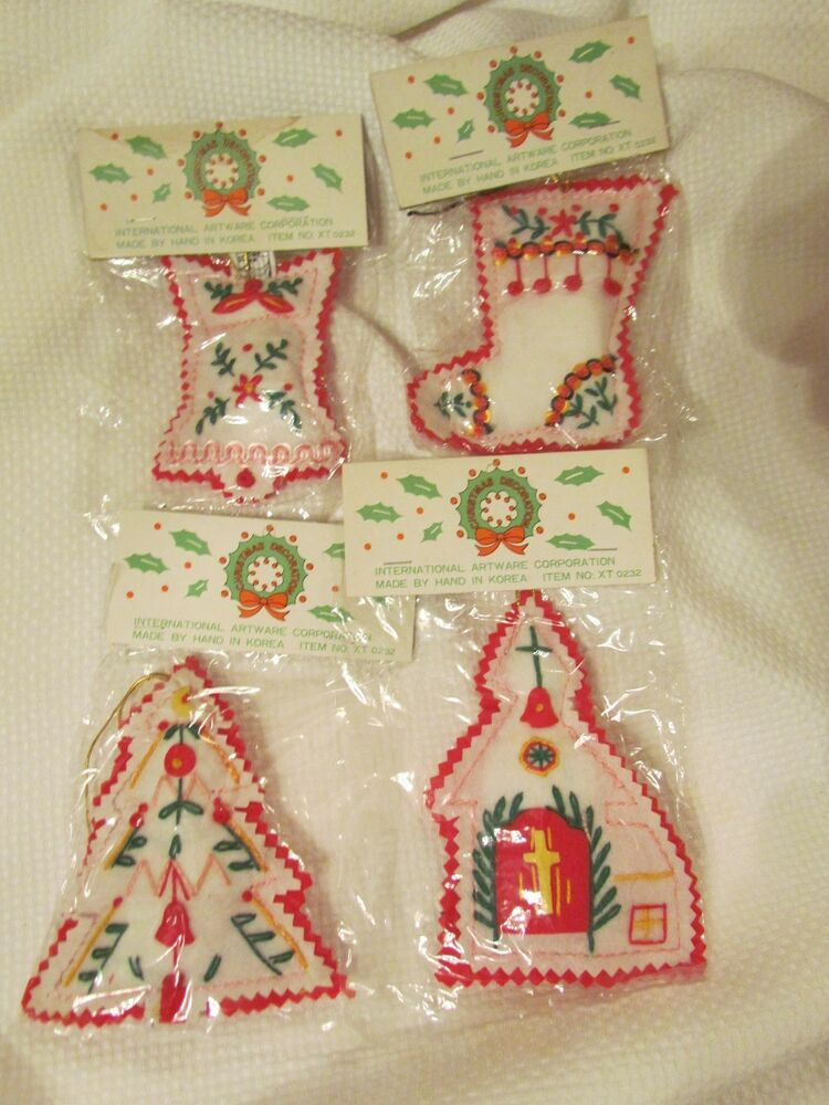 Vintage Felt Retro Embroidered Christmas Stocking Church