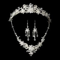 Silver Bridal Jewelry Set and Tiara of Swarovski Crystal ...