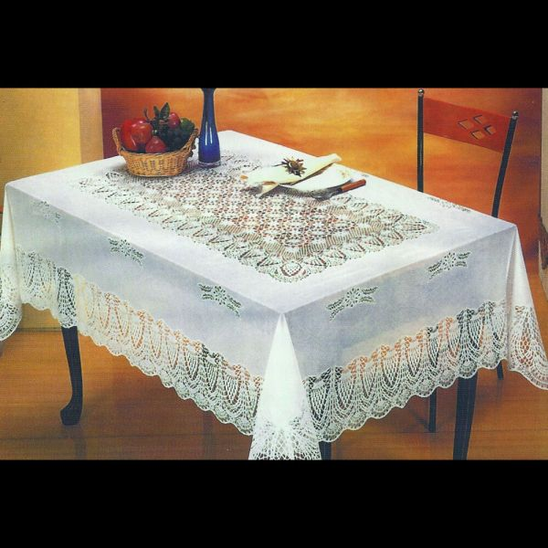 "White Crocheted Lace Vinyl Tablecloths 54""x72"" 60""x90"