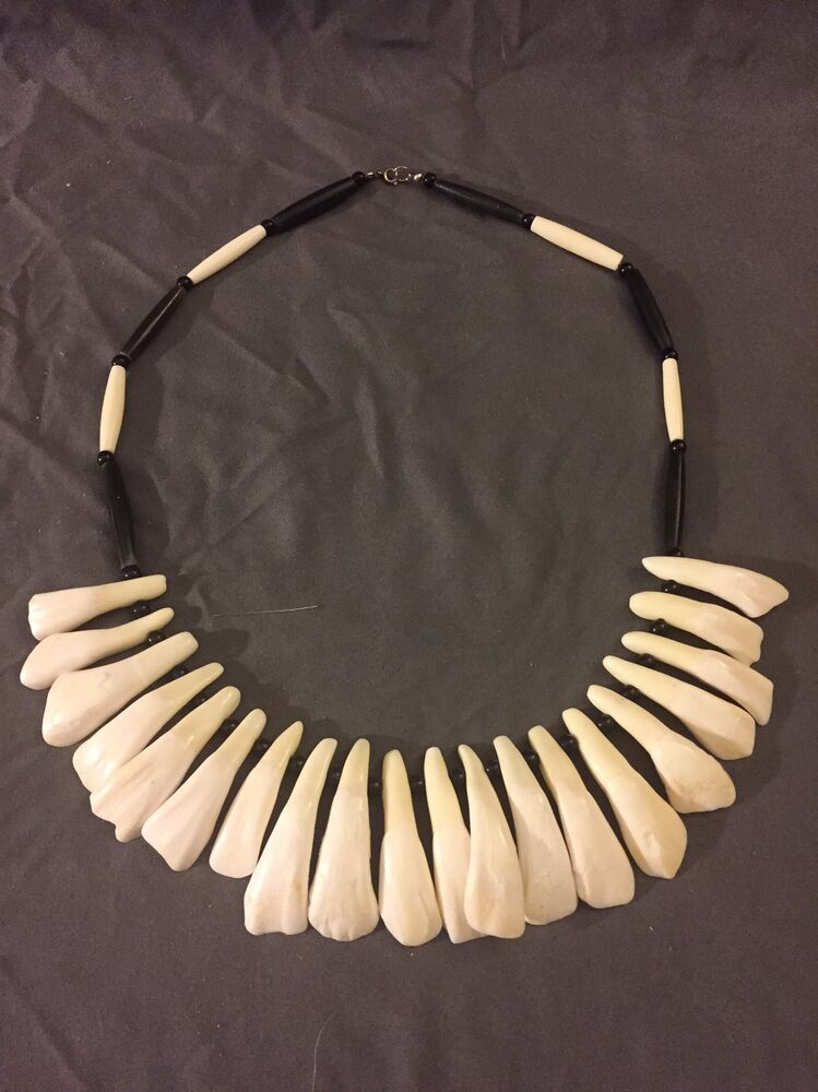 buffalo tooth necklace Native American made Mountain Man rendezvous bison teeth  eBay